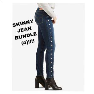 4 for 1 LEVI'S Skinny Jeans Bundle Size 29! $200+